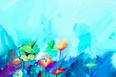 Abstract colorful oil painting on canvas. Semi- abstract image of flowers. In yellow and red with blue color. Hand drawn brush stroke, oil color paintings Royalty Free Stock Photo