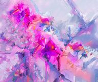 Abstract colorful oil painting on canvas. Semi abstract image of royalty free illustration