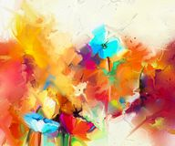 Abstract colorful oil painting on canvas. Semi- abstract image of flowers, in yellow and red with blue color. Hand drawn brush stroke, oil color paintings Royalty Free Stock Photos