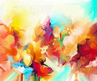 Abstract colorful oil painting on canvas. Semi- abstract image of flowers, in yellow and red with blue color. Hand drawn brush stroke, oil color paintings Royalty Free Stock Images