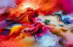 Abstract colorful oil painting on canvas texture. Hand drawn brush stroke, oil color paintings background. Modern art oil paintings with yellow, red color Stock Photography