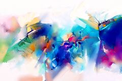 Abstract colorful oil painting on canvas texture. Hand drawn brush stroke, oil color paintings background. Modern art oil paintings with green, red and blue stock illustration