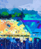 Abstract colorful oil painting landscape on canvas Stock Photography