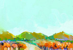 Abstract colorful oil painting landscape Stock Photos