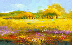 Abstract colorful oil painting landscape Stock Photography