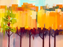 Abstract colorful oil painting landscape vector illustration