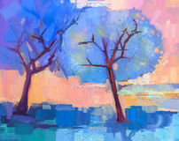 Abstract colorful oil painting landscape Royalty Free Stock Photography