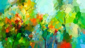 Abstract colorful oil painting landscape on canvas royalty free illustration