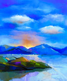 Abstract colorful oil painting landscape, hill and sea Stock Photo