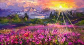 Abstract colorful oil painting purple cosmos flower. Rhododendron flowers, wildflower in field. Violet, red wildflowers at meadow with sunrise and blue sky Stock Images