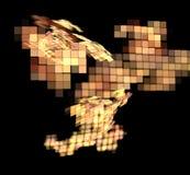 Abstract colorful orange and golden pixel fractal on black background. Fantasy fractal texture. Digital art. 3D rendering. Compute. R genenerated image vector illustration