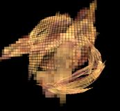 Abstract colorful orange and golden pixel sphere on black background. Fantasy fractal texture. Digital art. 3D rendering. Computer royalty free illustration