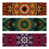 Abstract colorful ornamental ethnic banners. Festive vintage colorful ornamental ethnic banners set Royalty Free Stock Photos