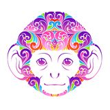 Abstract colorful ornate monkey Decorative funny animal face symbol icon design element Vector illustration for banner, poster.  Royalty Free Stock Image