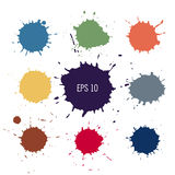 Abstract colorful paint drops. Blot vector illustration. Spot vector silhouette. Design element Royalty Free Stock Photo