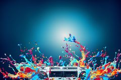 Abstract colorful paint splash disco music background. Abstract colorful paint splash with vintage stereo cassette player over blue background vector illustration