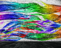 Abstract colorful painting with foreground. Over white brick wall stock illustration