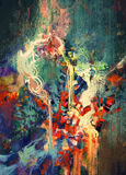 Abstract colorful painting. Melted coloring elements Stock Photos