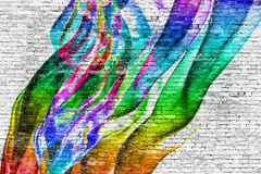 Abstract colorful painting over brick wall Stock Image