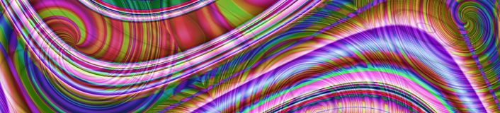 Abstract colorful panorama banner with glowing lines stock image