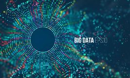 Abstract colorful particle grid with bokeh. Science dust with glow. Futuristic bigdata visualization Stock Photography