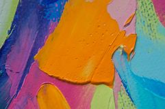 Fragment. Multicolored texture painting. Abstract art background. oil on canvas. Rough brushstrokes of paint. Closeup of a paintin. Abstract colorful pastel Stock Illustration