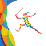 Abstract colorful pattern with Badminton player Royalty Free Stock Images