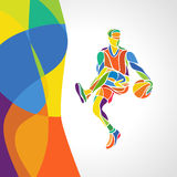 abstract colorful pattern with Basketball player Stock Photo