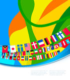 Abstract colorful pattern with flags of world. Royalty Free Stock Image