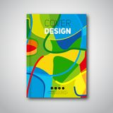 Abstract colorful pattern flyer or annual report. Summer. Of mixed shapes - Green, orange, yellow, blue. Vector Design book poster advertising Stock Photography