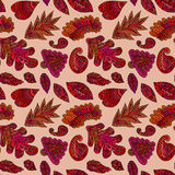 Abstract colorful pattern with hand drawn leafs Royalty Free Stock Image