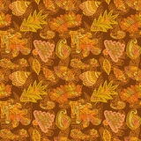 Abstract colorful pattern with hand drawn leafs elements Stock Photography