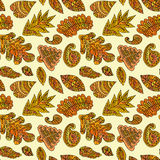 Abstract colorful pattern with hand drawn leafs elements Stock Photo