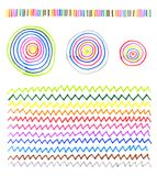 Abstract colorful patterns. Abstract patterns made by hand on a white paper with colored markers royalty free illustration