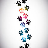 Abstract colorful paw prints royalty free illustration