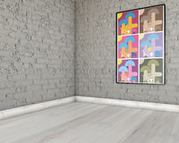 Abstract colorful picture on brick wall. Abstract colorful picture with cartoon animal characters on gray brick wall in empty room Royalty Free Stock Photography