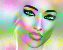 Abstract Colorful pop art image of a woman`s face. Colorful pop art image of a woman`s face on a white background. An abstract, punk style image created with 3d stock illustration