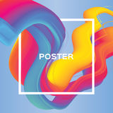 Abstract colorful poster. Wave Smoke shapes with square frame. Space for text. Dynamic Blue Paste Effect. Stock Photography