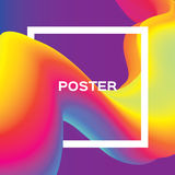 Abstract colorful poster. Wave Smoke shapes with square frame. Space for text. Dynamic Effect. vector illustration