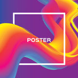 Abstract colorful poster. Wave Smoke shapes with square frame. Space for text. Dynamic Effect. Abstract poster. Colorful Wave smoke shapes with square frame Royalty Free Stock Photography