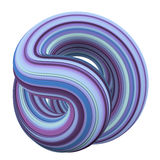 Abstract colorful purple, blue and cyan 3D swirl. Abstract colorful purple, blue and cyan 3D round swirl isolated on white background. 3D rendering Royalty Free Stock Photos