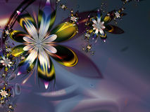 Abstract Colorful Purple Green Fractal Flower Dark. Background Stock Images