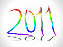 Abstract colorful rainbow 2011 new year text. Vector illustration Royalty Free Stock Photos