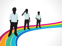 Abstract colorful rainbow background with men. Vector illustration Royalty Free Stock Photos