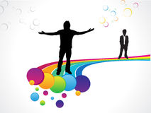 Abstract colorful rainbow background with men. Vector illustration Stock Photography