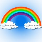 Abstract colorful rainbow with clouds. Vector illustration. Eps 10 Stock Illustration