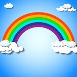 Abstract colorful rainbow with clouds. Vector illustration. Eps 10 Vector Illustration