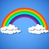 Abstract colorful rainbow with clouds. Vector illustration. Eps 10 Royalty Free Illustration