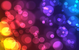 Abstract colorful rainbow defocused bookeh texture. Abstract colorful rainbow defocused, blurred bookeh lights effect texture, background. Yellow, red magenta Stock Image