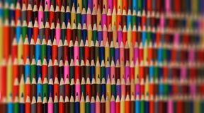 Abstract colorful rainbow sharpen pencils background pattern. Blurred background part. Sharp pencils rainbow background. School ba Stock Photography